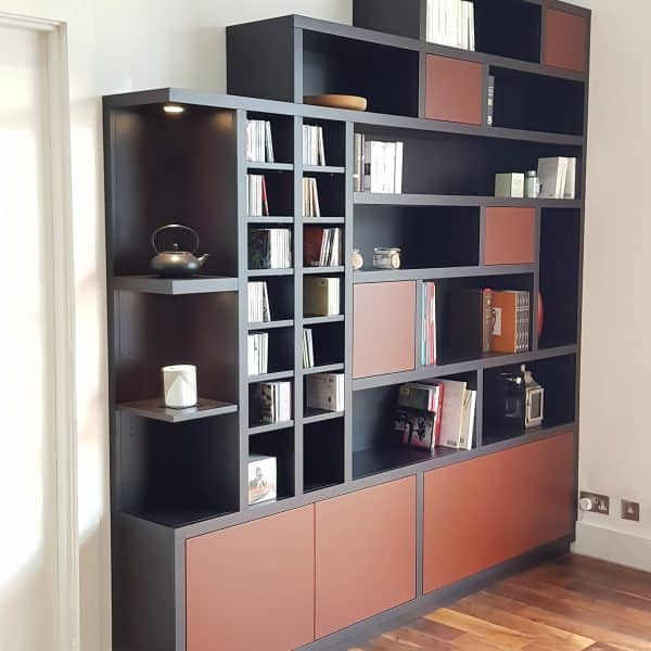 Black-and-brown-wall-unit-and-bookcase-with-built-in-lights